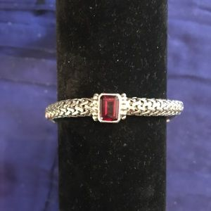 NEW Sterling Silver chain toggle garnet bracelet